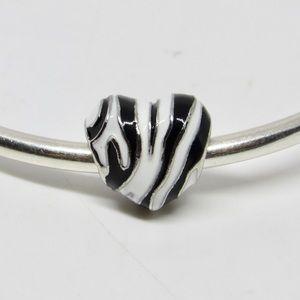 Handmade Zebra Stripes Heart Charm
